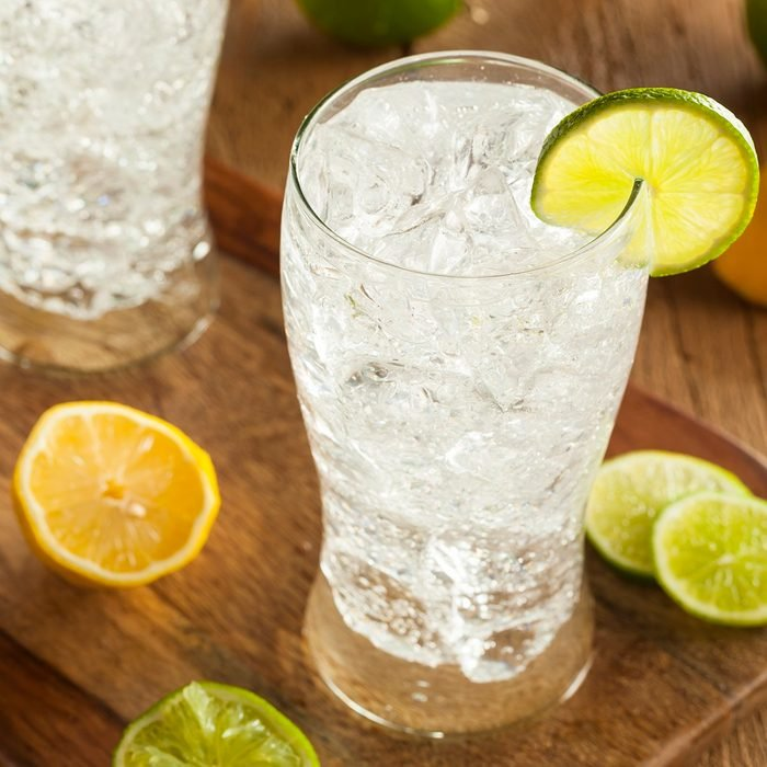 Refreshing Lemon and Lime Soda in a Glass