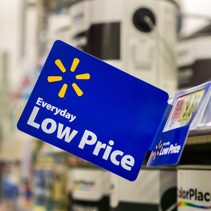 """Walmart's """"Everyday low price"""" tagline posted inside one of their stores located in south San Francisco bay area"""