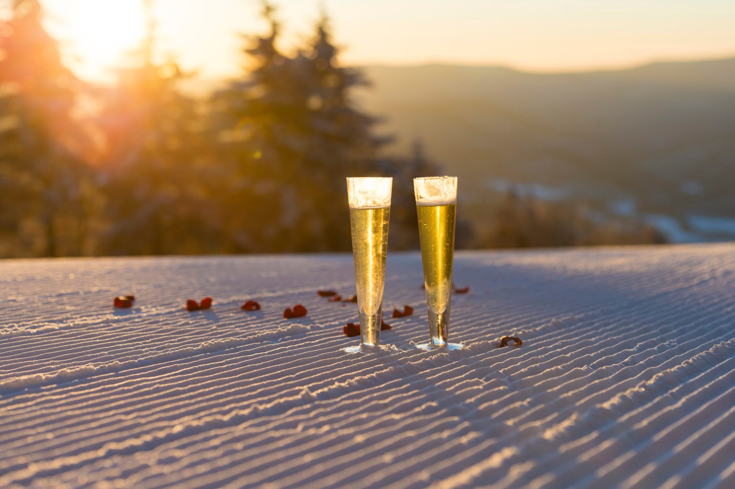 champagne at the Snowshoe Mountain Resort in West Virginia