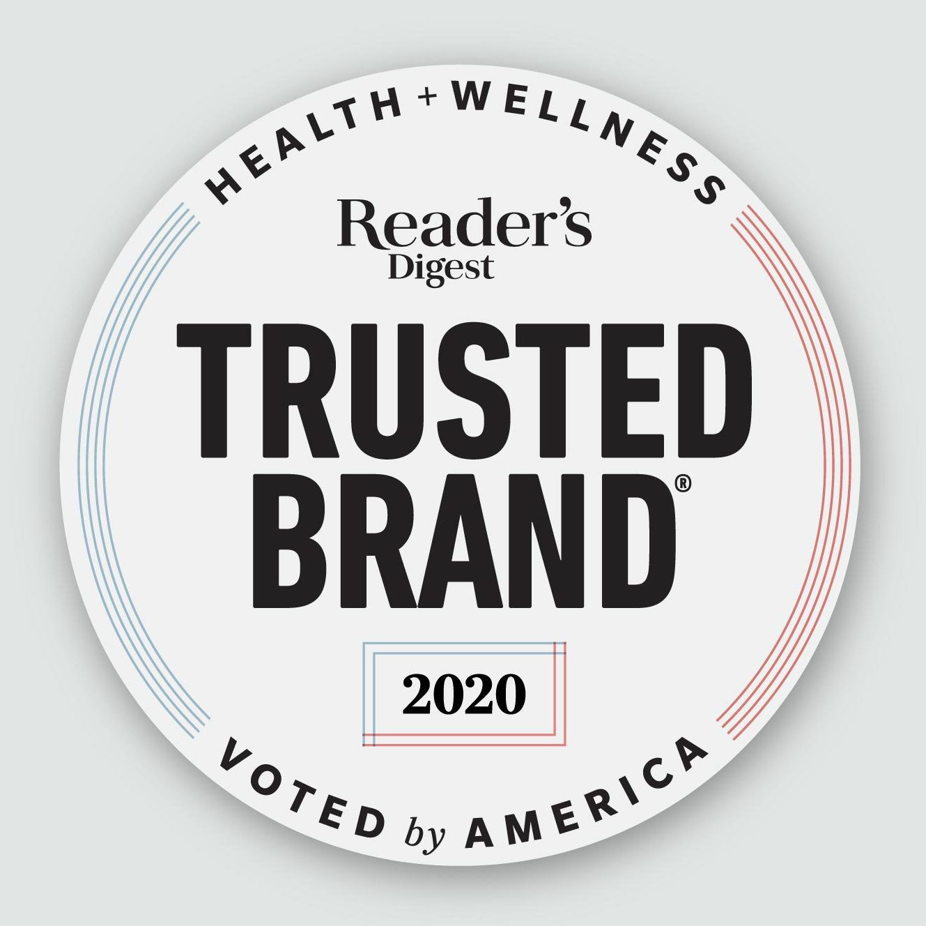 Reader's Digest Trusted Brand logo 2020 on gray background