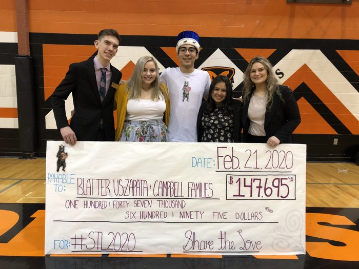 Clay Sperl, Natalee Litchfield, Tony Morfin, Emilie Mendoza and Cori Oster share the love molalla high school