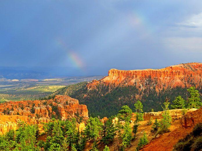 Bryce Canyon National Park after a rainstorm rainbow