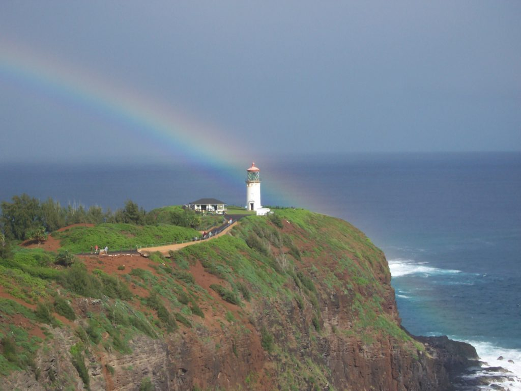 Hawaii's Kauai island lighthouse rainbow