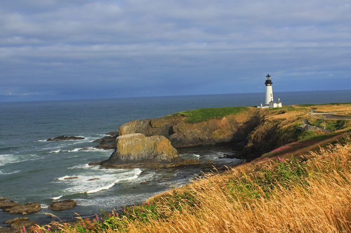 Yaquina Head Light off the coast of Newport Oregon