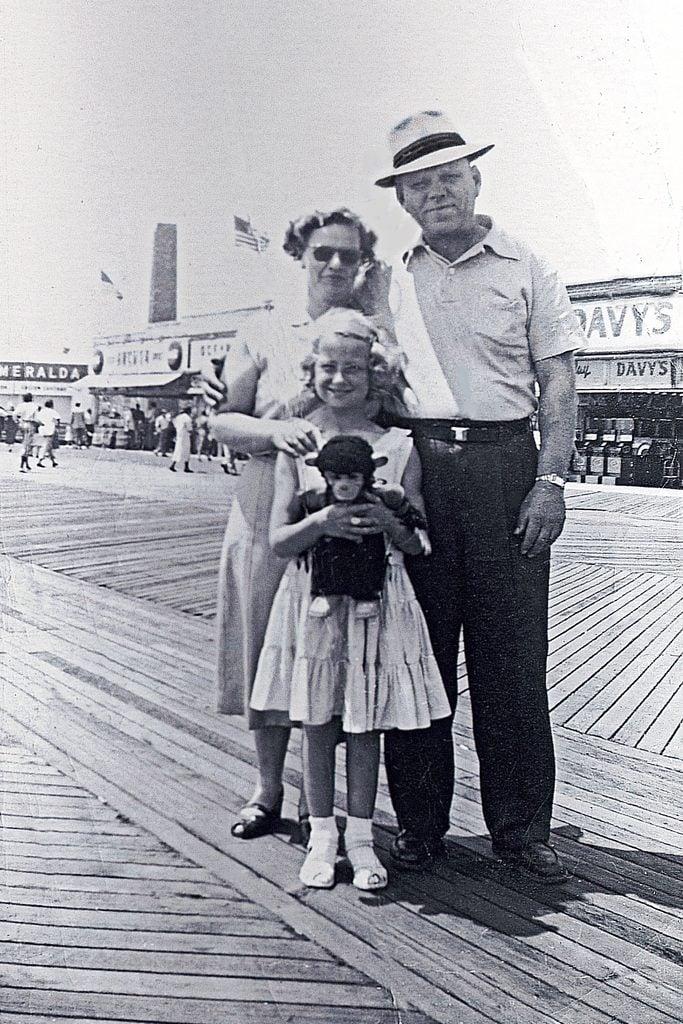 family boardwalk vintage photo