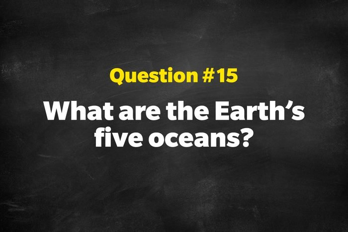 Question #15: What are the Earth's five oceans?
