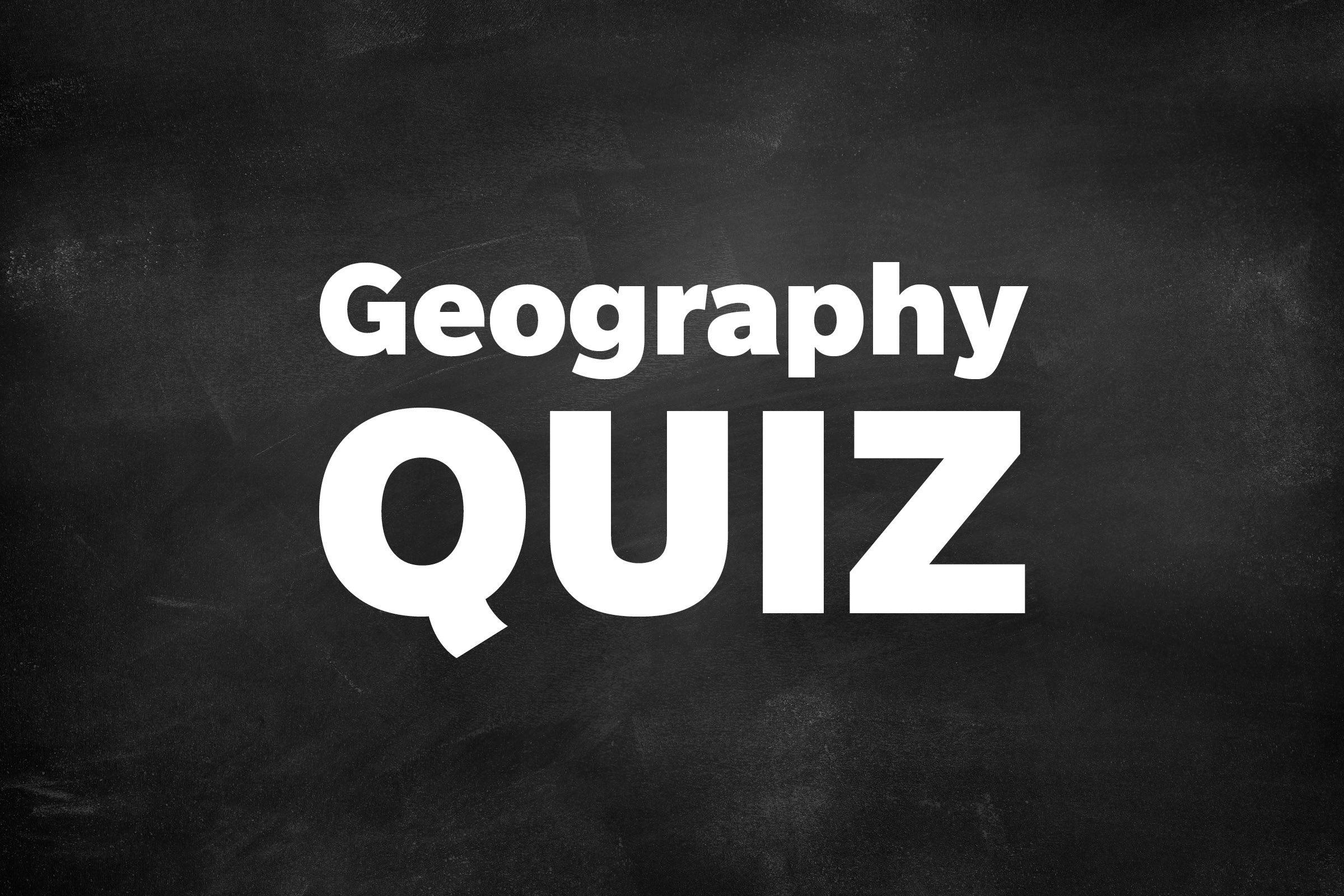 Geography Quiz written on blackboard