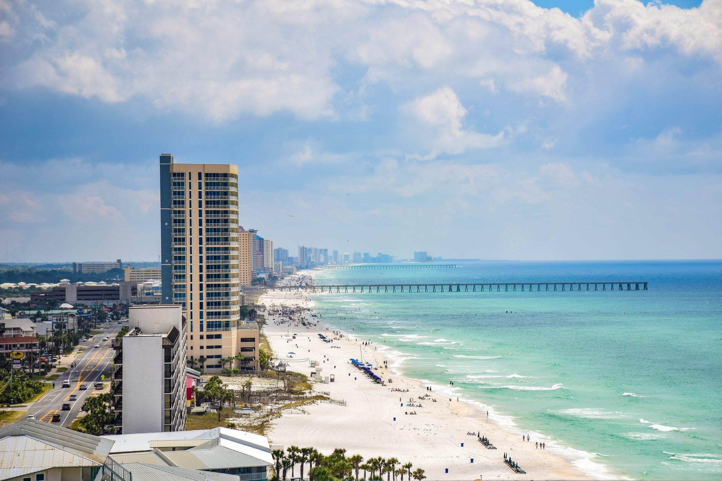 Drone Aerial Beach View of Panama City Beach, Florida, USA