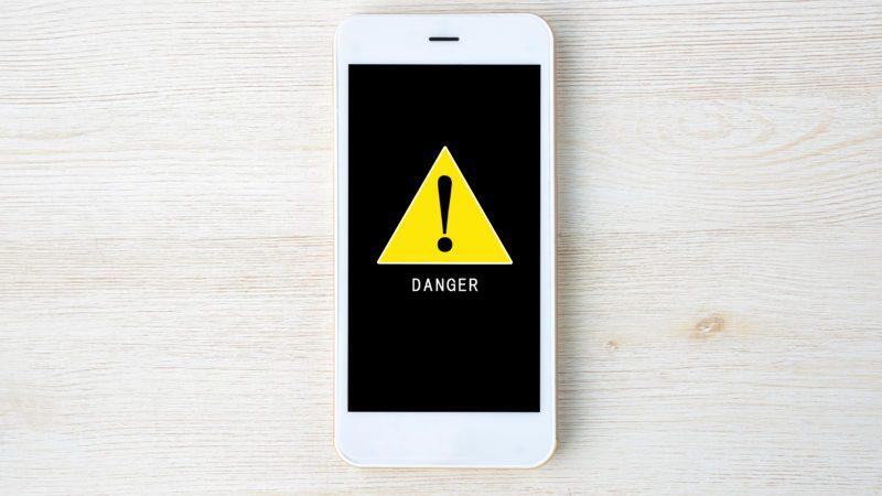 Warning mark on smart phone display