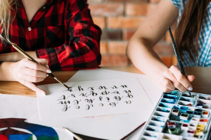 art lettering class brush calligraphy alphabet
