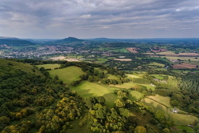 Sugar Loaf mountain and farm land in Monmouthshire