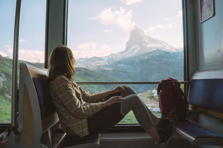 Woman traveling in Gornergrat train