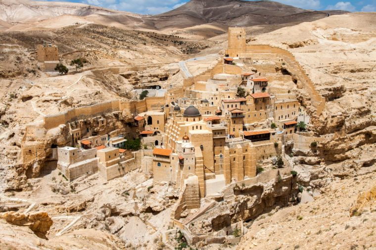 Mar Saba, Holy Lavra of Saint Sabbas, Eastern Orthodox Christian monastery overlooking the Kidron Valley. West Bank, Palestine, Israel.