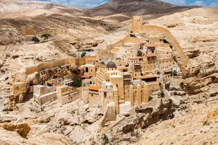 Mar Saba, Holy Lavra of Saint Sabbas, Eastern Orthodox Christian monastery overlooking the Kidron Valley. West Bank, Palestine, Israel.