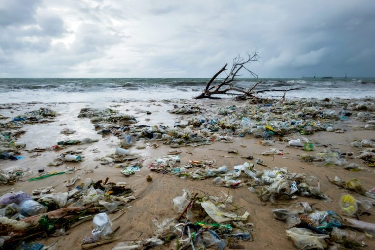 Garbage on beach, environmental pollution in Bali Indonesia.