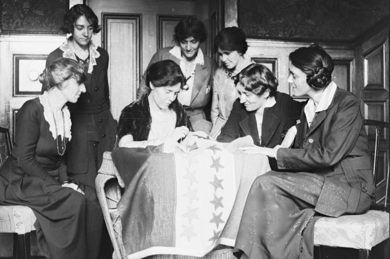 Sewing Stars On Suffrage Banner
