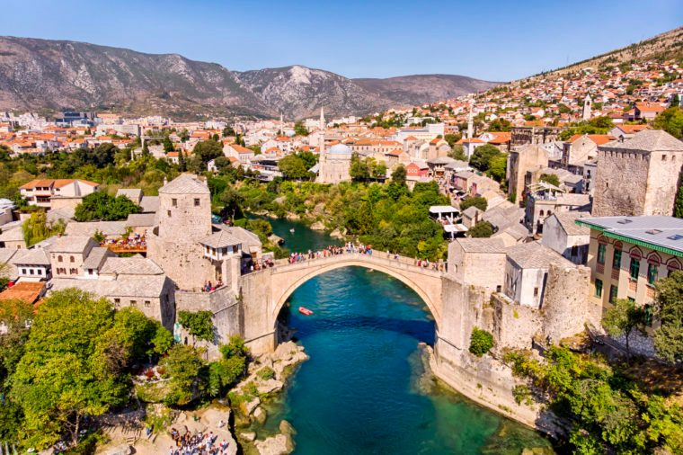 Aerial view of Mostar Bridge