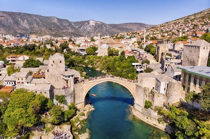 Aerial view of Mostar Bridge