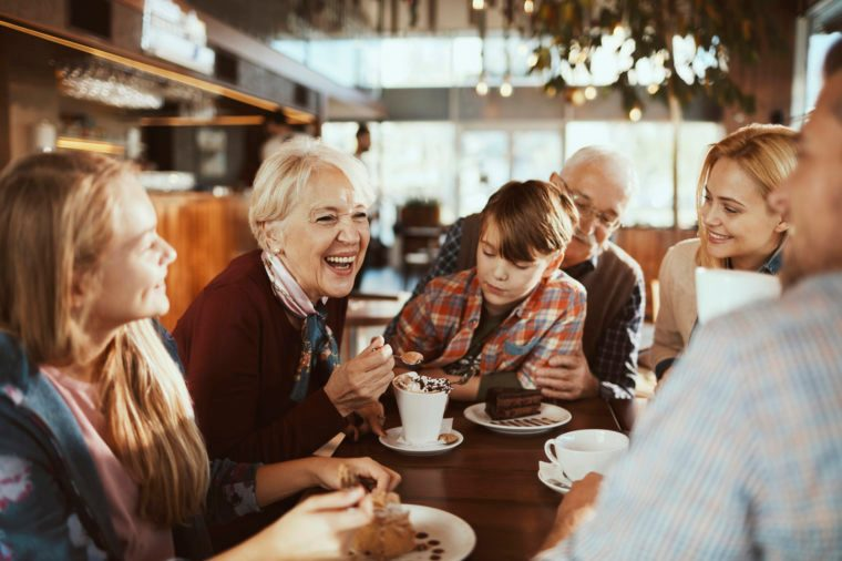 Multi Generational Family in a Cafe