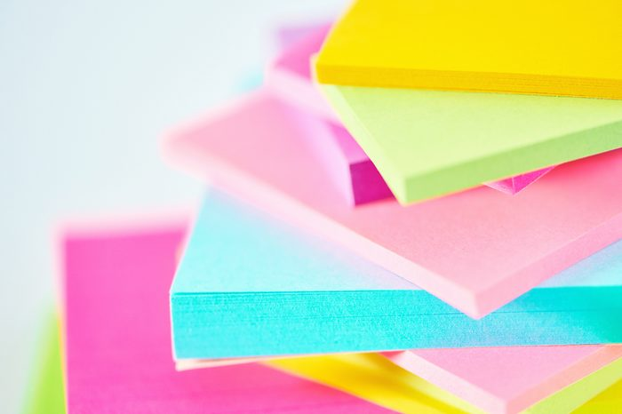 Abstract macro shot of a collection of colored sticky notes