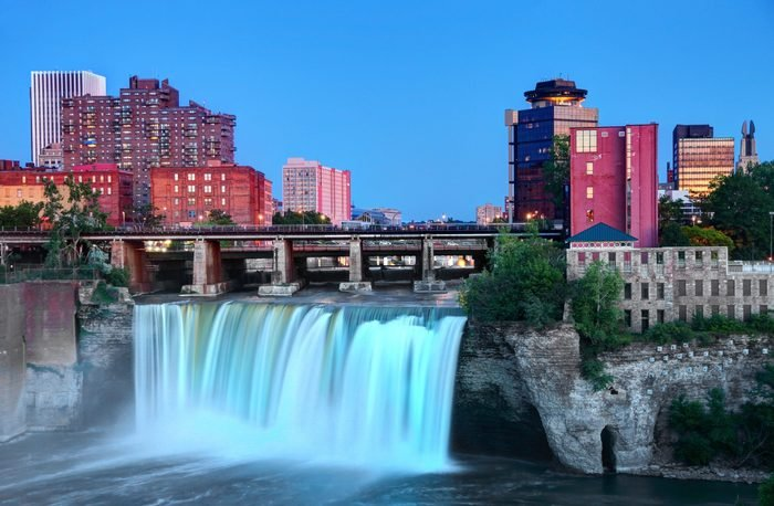High Falls at dusk in Rochester, New York