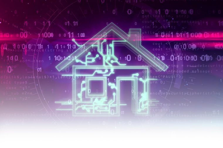 digital cyber abstract concept with house smart home