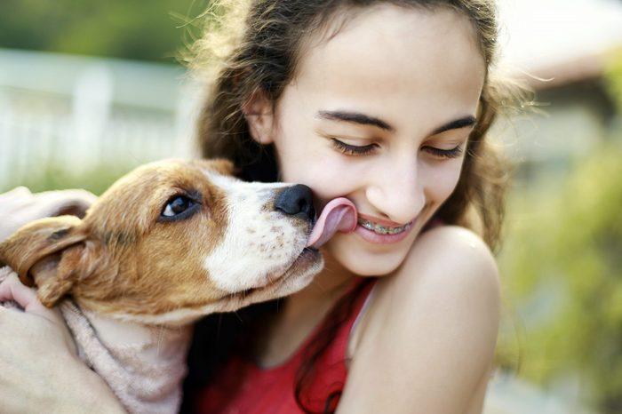 Puppy kissing teenage girl