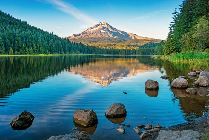 Trillium Lake and Mount Hood Oregon USA at sunset