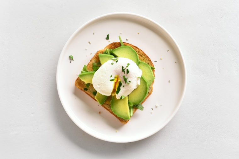 Poached eggs on toasted bread
