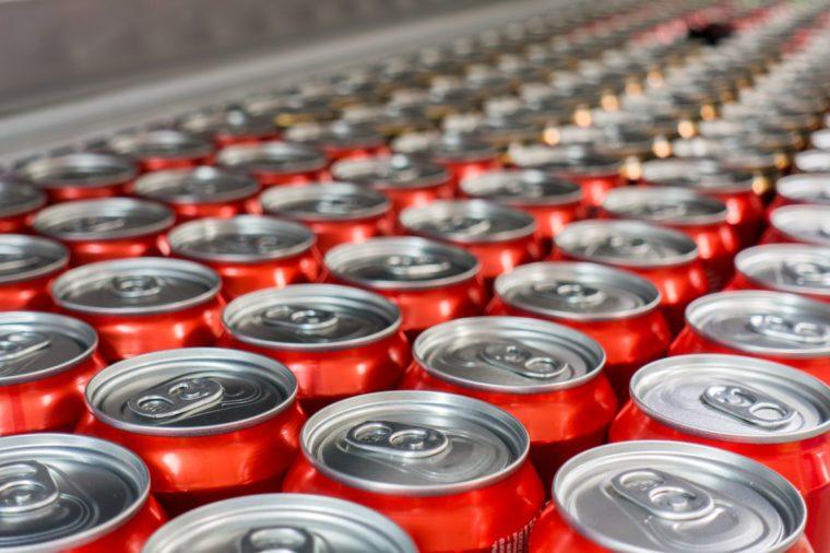 Cover alumiunum cans. Aluminum cans. Top view. Aluminum cans in the market