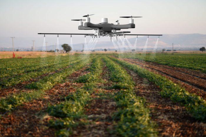 Drone spraying a field