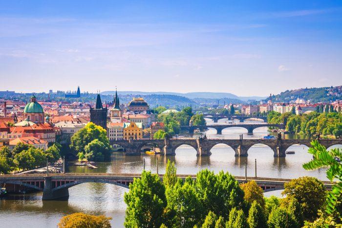 View on bridges over Vltava river in Prague city