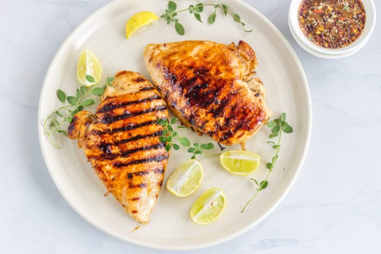 Grilled Chicken Breast Directly Above Photo