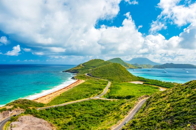 Saint Kitts Panorama with Nevis Island in the background.