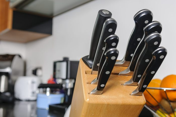 Set of quality Sabatier cooks knives in a modern kitchen