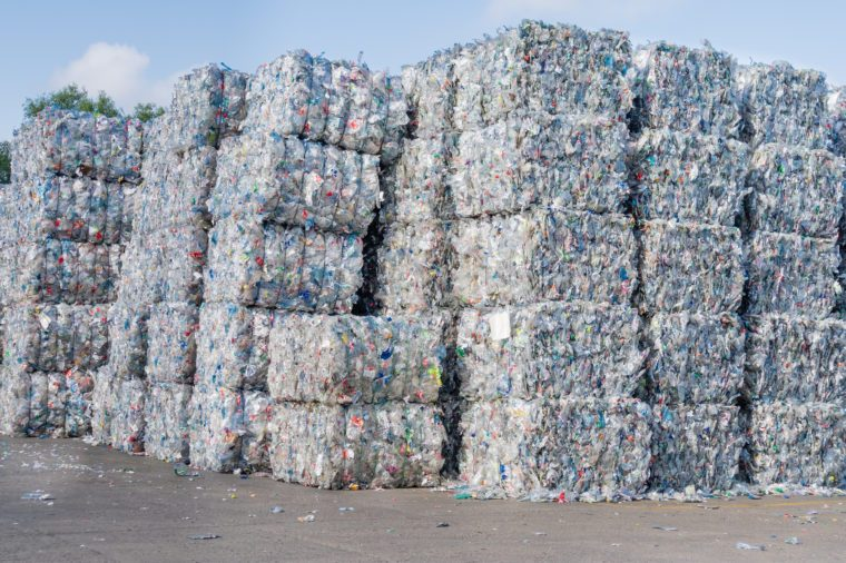 Plastics recycling centers and raw material