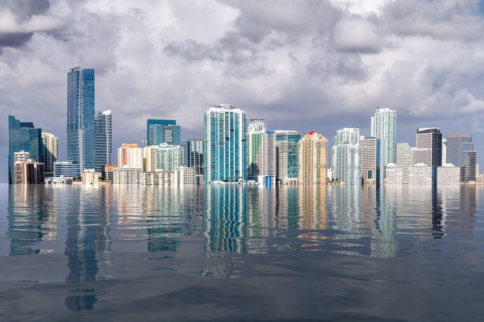 Miami skyline concept of sea level rise and flooding from global warming