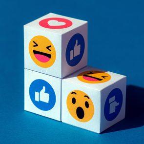 emoji symbols from facebook messenger on blue background
