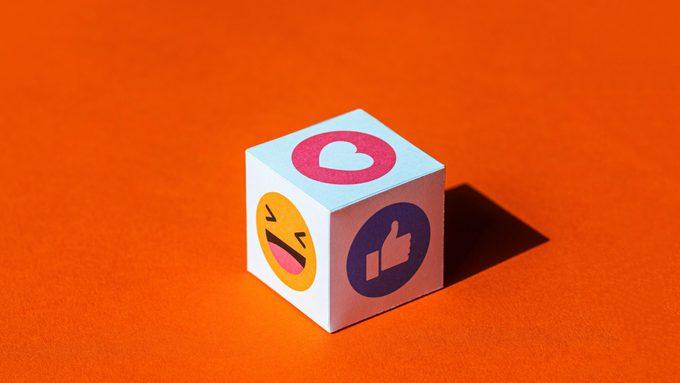 emoji symbols from facebook messenger red-orange background