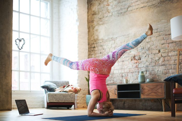 Yoga classes with laptop