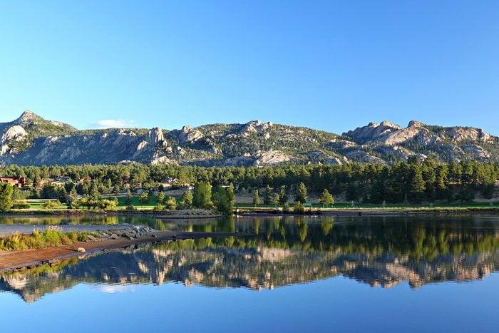 Estes Park, Colorado the mountain is reflected in the lake