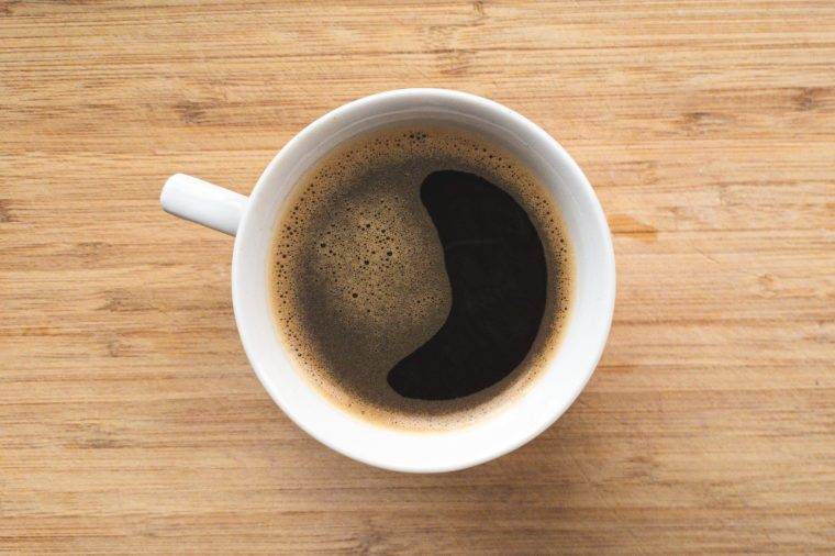 Smiling cup of coffee from directly above