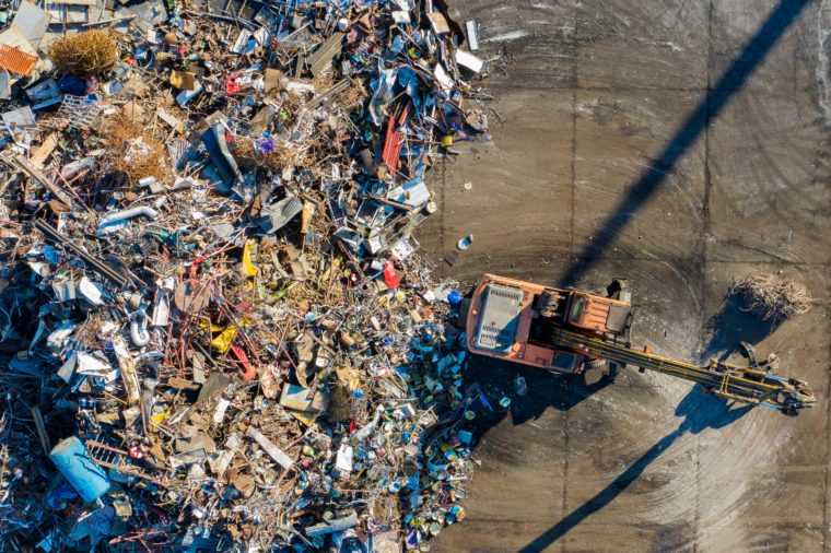 Aerial view of Metal Garbage in a port.