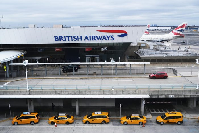 Taxis wait for passengers at John F. Kennedy Airport (JFK) on January 31, 2020 in New York City.
