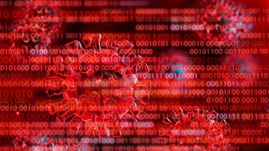 coronavirus with computer code overlay. red.