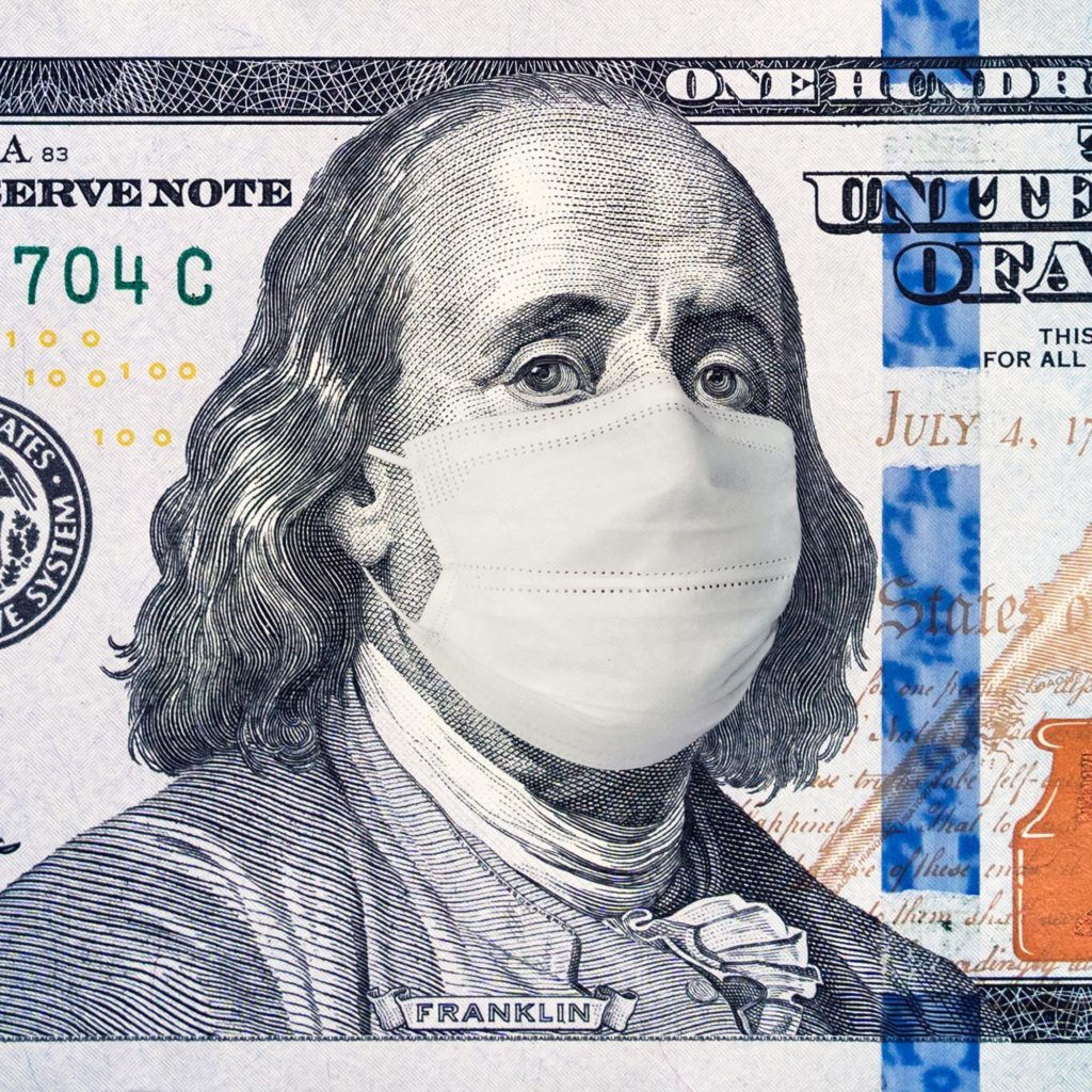 American President with face mask against CoV infection. 100 dollar banknote. Coronavirus in United States. Concept quarantine and recession. Global economy hit by corona virus outbreak and pandemic