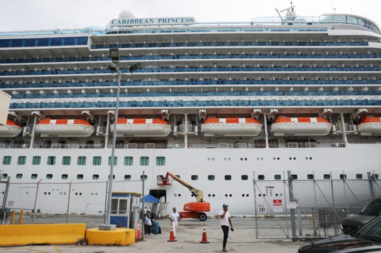 The Princess Cruises' Caribbean Princess is seen docked at Port Everglades on March 12, 2020 in Fort Lauderdale, Florida.