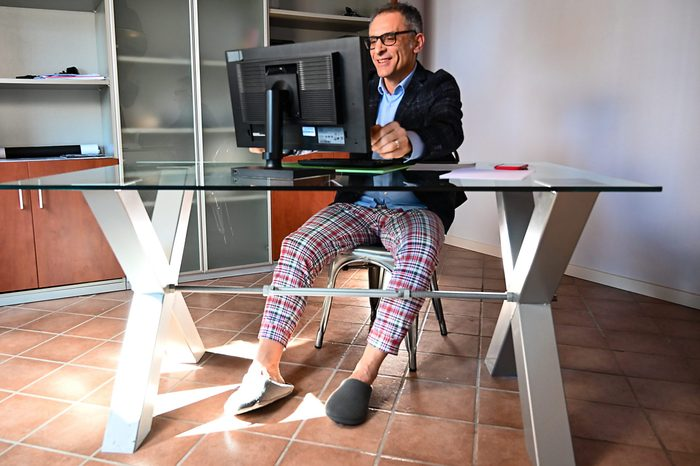 Smart Working in Pajama Pants and Slippers