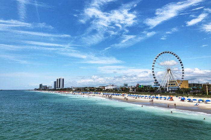 Ferris Wheel In City Against Cloudy Sky On The Beach in Myrtle Beach, United States