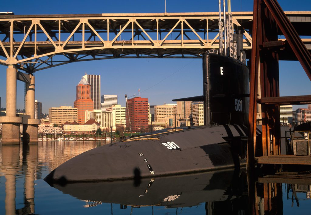 Submarine at OMSI on Willamette River